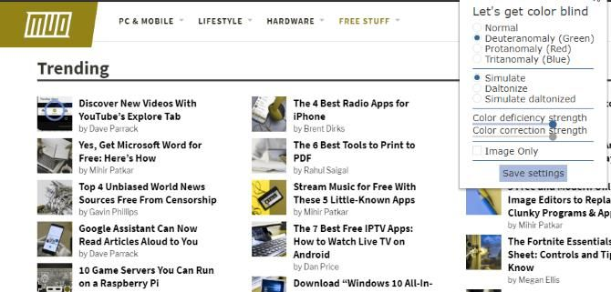 Расширение Let's Get Color Blind, модифицирующее веб-сайт MUO