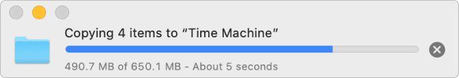 Копирование файлов на индикатор выполнения диска Time Machine