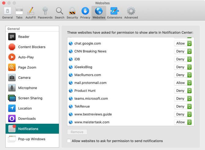 Отключить уведомления для веб-сайтов Safari