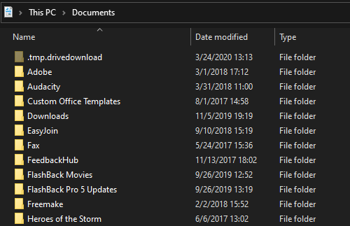 Папка документов Windows 10