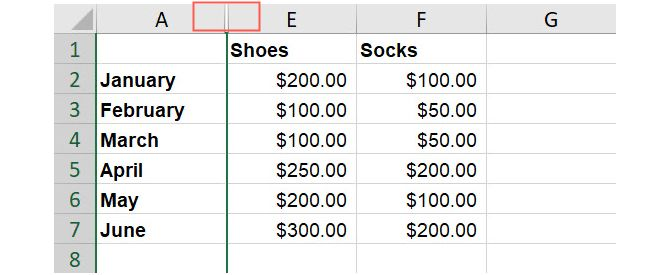 Excel скрытые столбцы