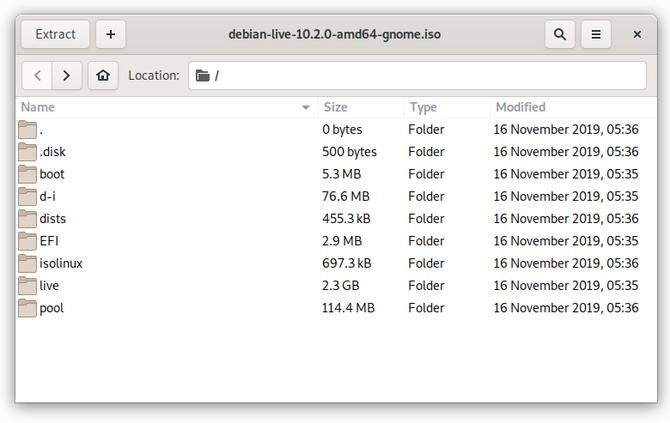 Извлечение ISO с помощью GNOME Archive Manager