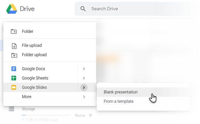 Выберите Google Slides на Google Диске