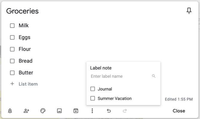 Google Keep Добавить имя ярлыка