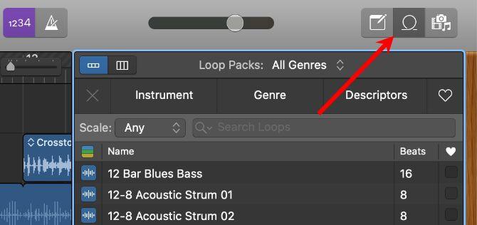 Кнопка Loops в GarageBand