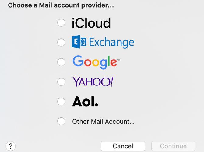 Mac Mail Выберите тип для новой учетной записи