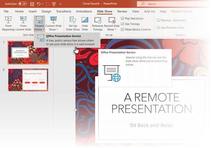 Запустить службу презентаций Office в PowerPoint