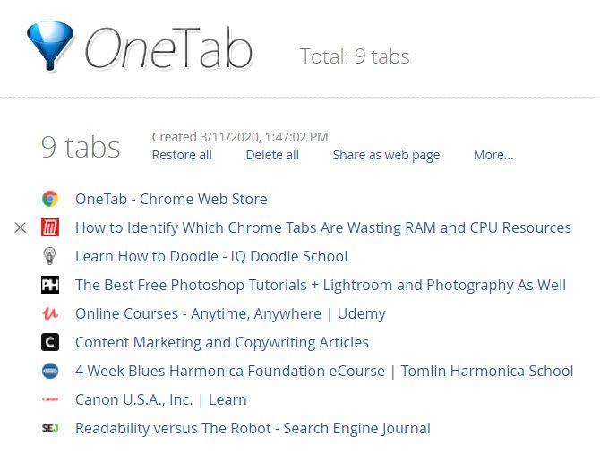Расширение OneTab Chrome