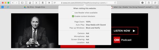 Персонализация страниц в Safari