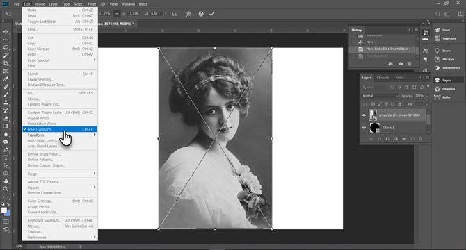 Использование Free Transform в Photoshop для настройки размера изображения