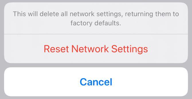 Всплывающее окно подтверждения сброса настроек сети на iPhone