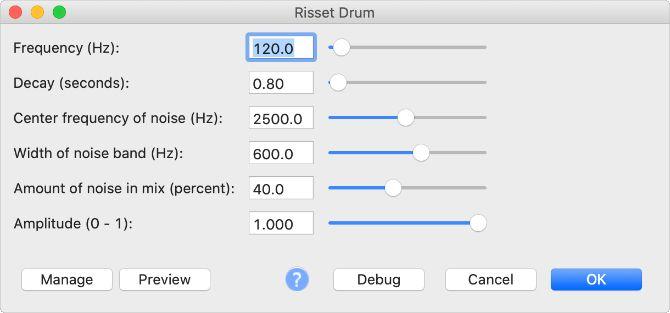 Виртуальный инструмент Risset Drum в Audacity