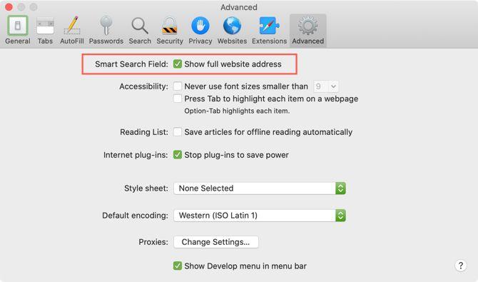 Safari Показать полный адрес веб-сайта