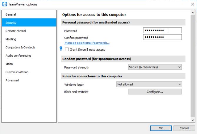 Установка личного пароля в TeamViewer