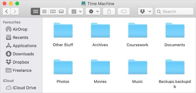 Диск Time Machine используется для хранения файлов в Finder