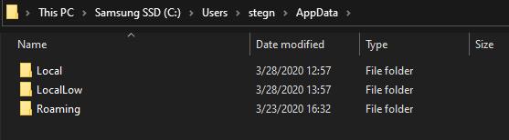 Папка данных Windows AppData