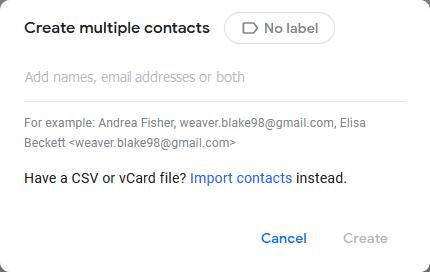 Создать несколько контактов в контактах Google