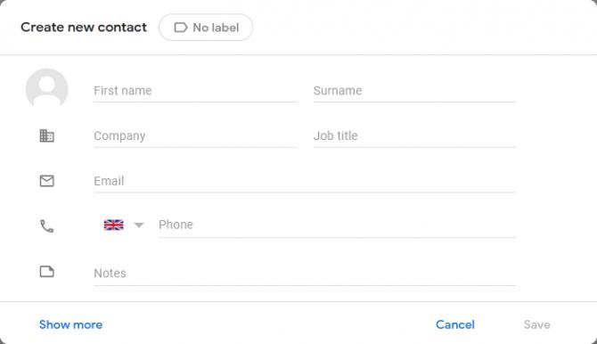 Создать новый контакт в Gmail