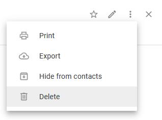 Удалить контакт в контактах Google