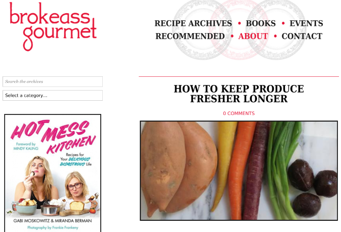 Brokeass Gourmet gives awesome home-cooking recipes that cost less than 20 dollars to make