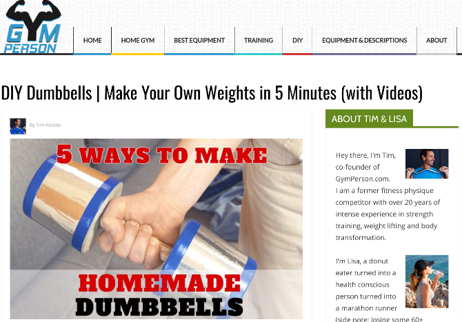 Make DIY dumbbells and homemade weights with GymPerson's step-by-step guides