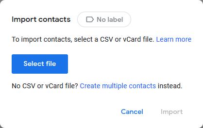 Импорт контактов в Google Контакты