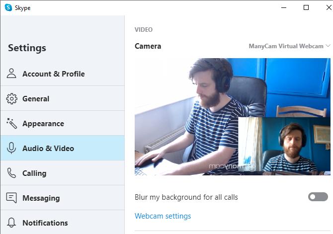 параметры камеры многокамерный Skype
