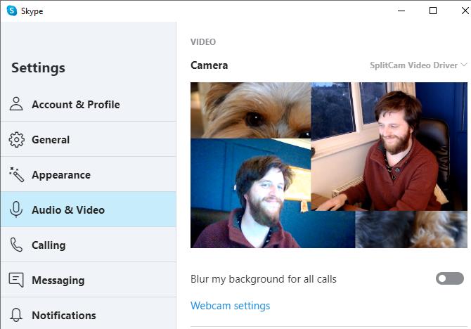Настройки веб-камеры сплит-камеры Skype