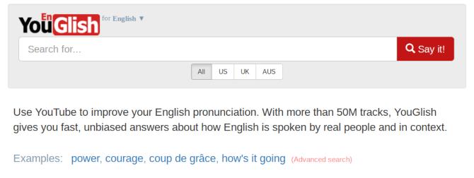 YouGlish поисковые слова