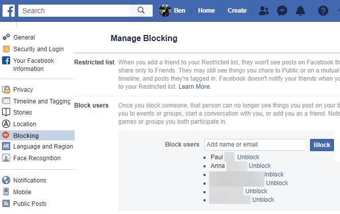 Страница блокирования Facebook