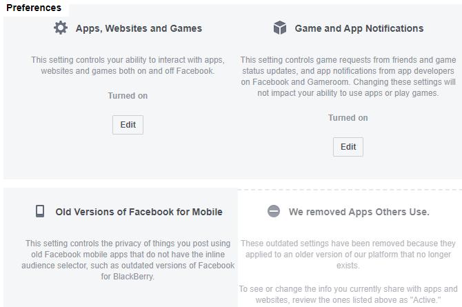 Facebook App Website Preferences