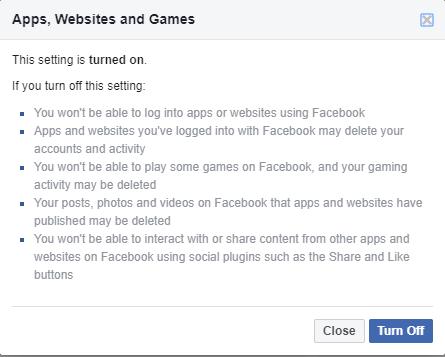 Facebook Turn Off App Website Access