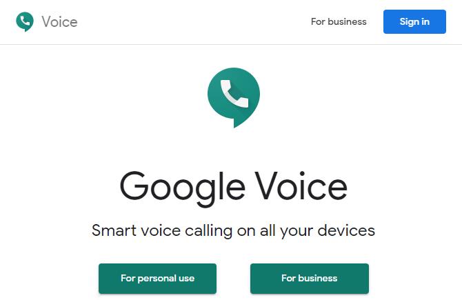 Главная страница Google Voice