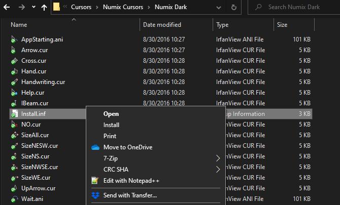 Курсоры установки Windows