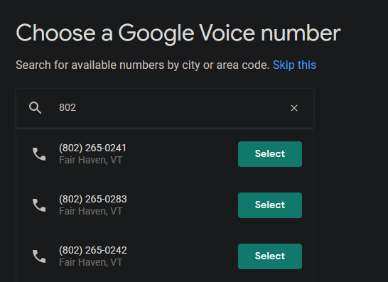 Примеры номеров Google Voice