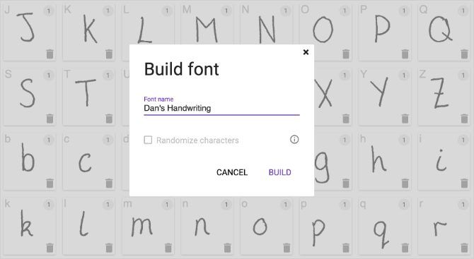 Build Font window to create custom handwriting font