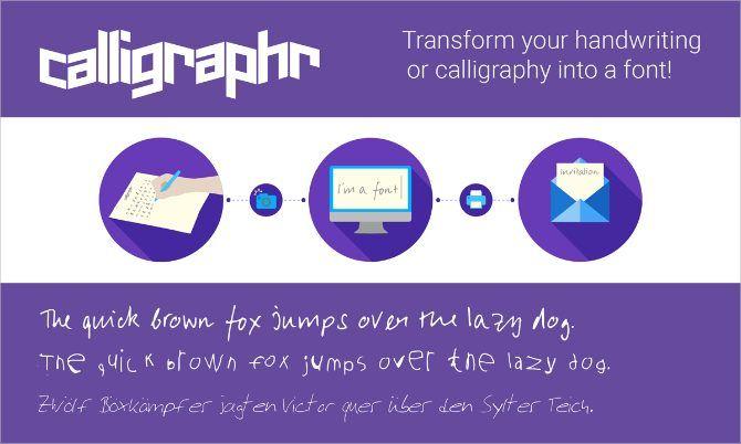 Каллиграфия обрабатывает инфографику, чтобы превратить почерк в шрифт