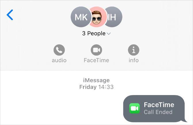 Кнопка FaceTime из приложения Сообщения