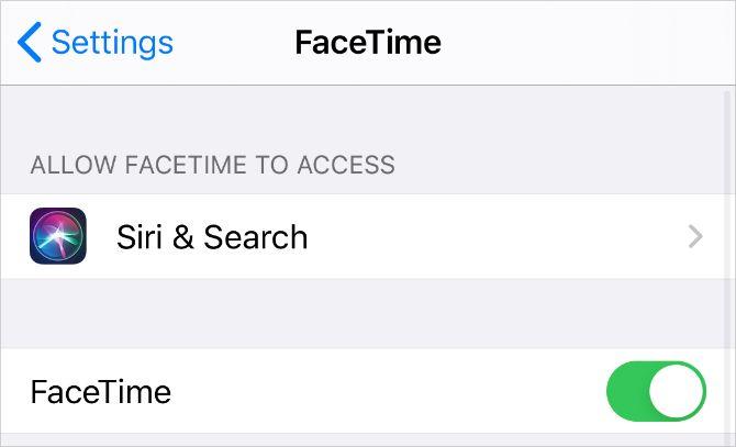 Настройки FaceTime на iPhone