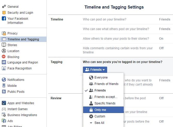 Facebook запретить теги