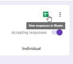 The Google Sheets button on Forms