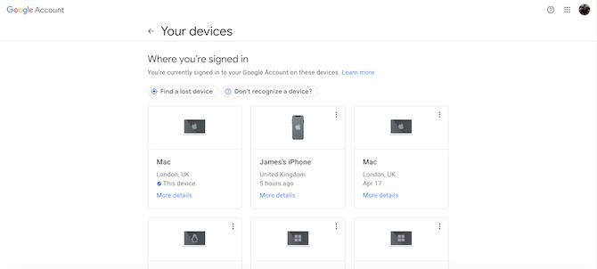 Настройки управления аккаунтом Google