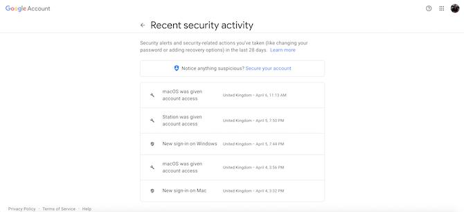 Недавние действия по обеспечению безопасности аккаунта Google