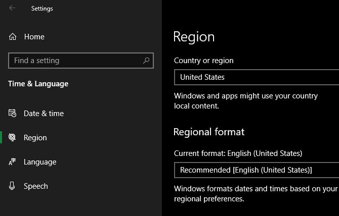 Windows 10 Изменить региональную информацию