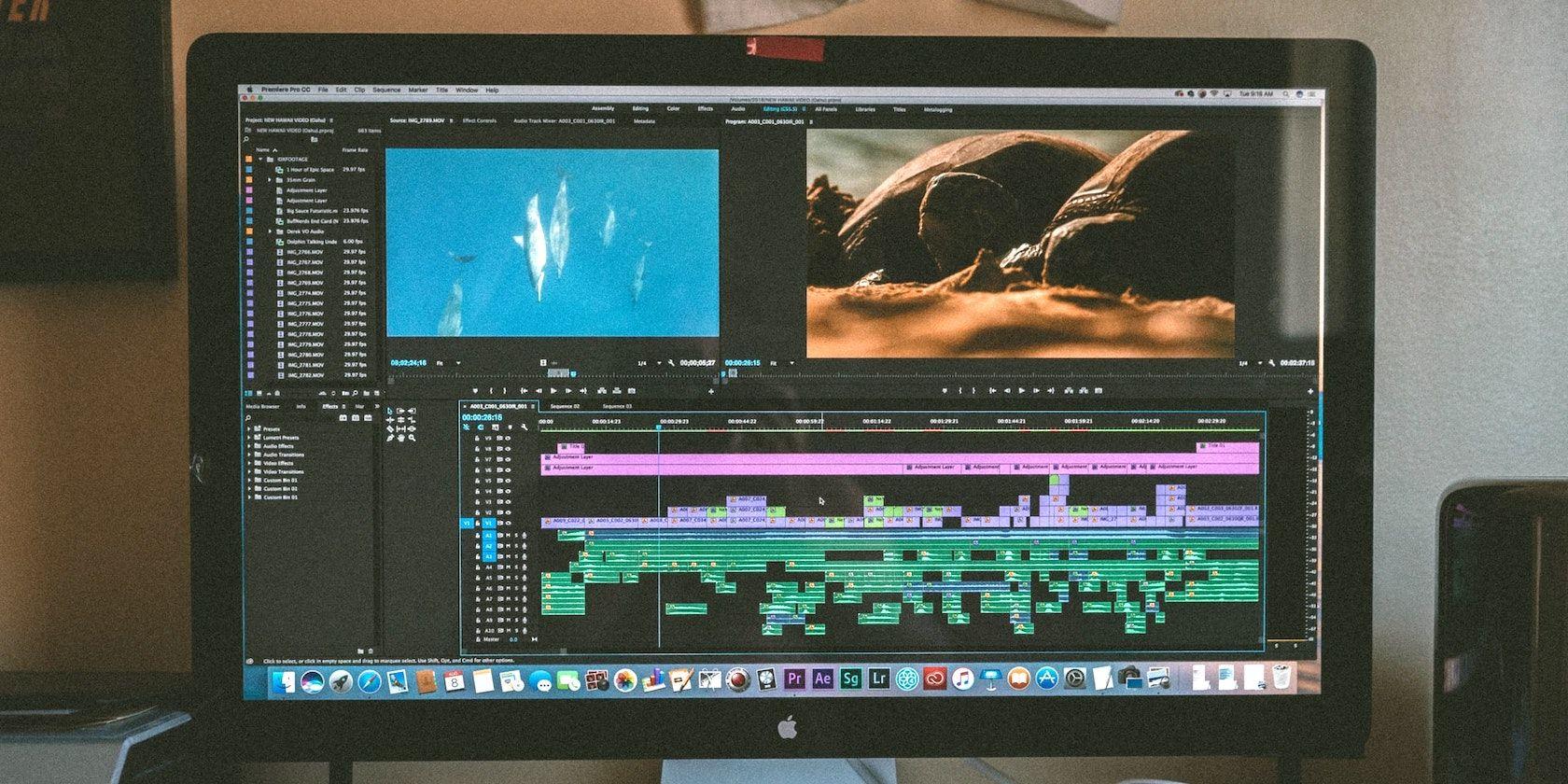Adobe Premiere Pro window on iMac screen