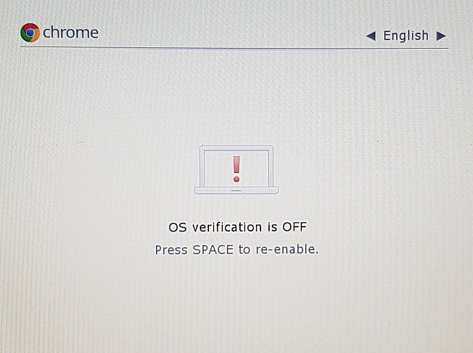 Chrome OS operating system verification is disabled