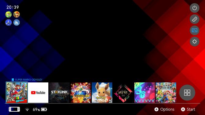 Пользовательская тема Nintendo Switch