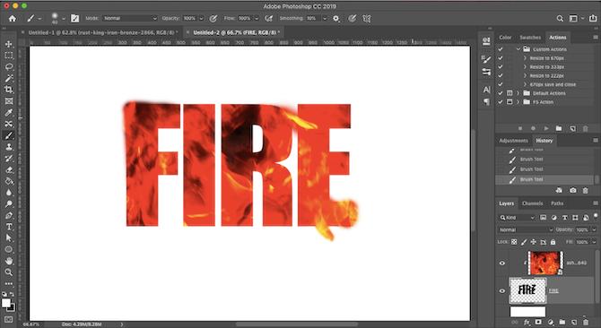 огненный текстовый эффект фотошоп