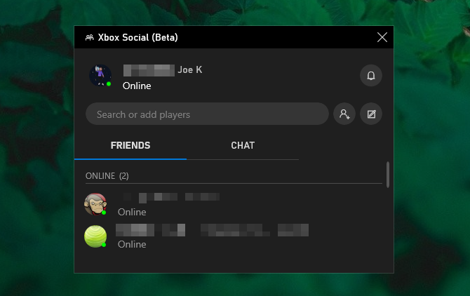 Game bar Xbox social
