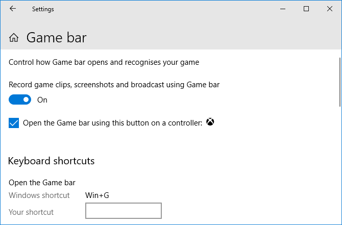 Настройки игрового бара Windows 10